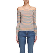 Buy Whistles Stripe Cotton Bardot Top, Multi Online at johnlewis.com