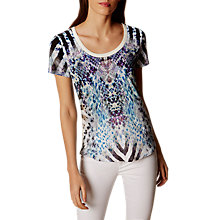 Buy Karen Millen Animal Print T-Shirt, Blue/Multi Online at johnlewis.com