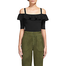 Buy Whistles Frill Detail Bardot Jumper, Black Online at johnlewis.com
