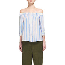 Buy Whistles Sarah Stripe Bardot Top, Blue/White Online at johnlewis.com