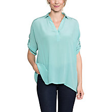 Buy East Silk Handkerchief Hem Shirt, Celadon Online at johnlewis.com
