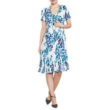 Buy East Hydrangea Print Pleat Dress, Cornflower Online at johnlewis.com