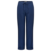 Buy East Linen Drawstring Trousers, Indigo Online at johnlewis.com