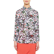 Buy Ted Baker Colour By Numbers Lupia Peter Pan Collar Floral Print Shirt, Grey Online at johnlewis.com