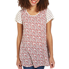 Buy Fat Face Natalie Longline Patchwork Print Top, Ivory/Red Online at johnlewis.com