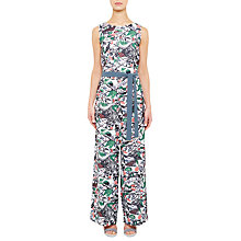 Buy Ted Baker Colour By Numbers Fleut Floral Print Jumpsuit With Waist Tie, Grey Online at johnlewis.com