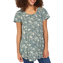 Buy Fat Face Natalie Intricate Floral Print Top, Ocean Surf Online at johnlewis.com
