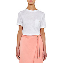 Buy Ted Baker Colour By Numbers Harlaa Square Cut Linen T-Shirt Online at johnlewis.com