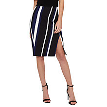 Buy Miss Selfridge Stripe Wrap Pencil Skirt, Black/Multi Online at johnlewis.com