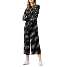 Buy Warehouse Paisley Pattern Jumpsuit, Black Online at johnlewis.com