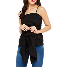 Buy Miss Selfridge Poplin Tie Cami, Black Online at johnlewis.com