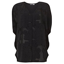 Buy Mint Velvet Floral Jacquard T-Shirt, Black Online at johnlewis.com