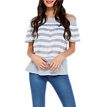 Buy Miss Selfridge Stripe Frayed Bardot Top, Blue Online at johnlewis.com