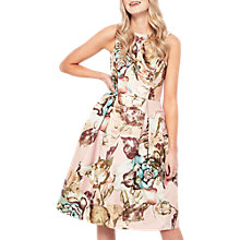 Buy Miss Selfridge Jacquard Bow Back Dress, Gold/Multi Online at johnlewis.com