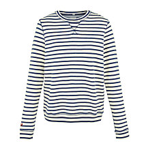 Buy Fat Face Stripe Crew Neck Top, Ivory Online at johnlewis.com
