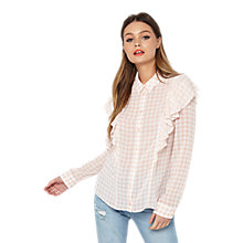 Buy Miss Selfridge Ruffle Gingham Shirt, Pink Online at johnlewis.com