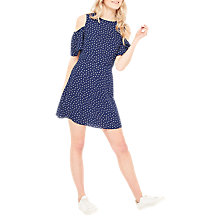Buy Miss Selfridge Polka Dot Cold Shoulder Dress, Navy Online at johnlewis.com