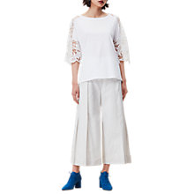 Buy Finery Villiers Lace Sleeve T-Shirt, Cream Online at johnlewis.com