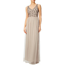 Buy Adrianna Papell Beaded Bodice Long Gown, Biscotti Online at johnlewis.com