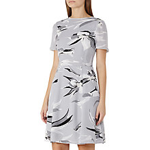 Buy Reiss Bronte Printed Silk Dress, Grey/Black Online at johnlewis.com