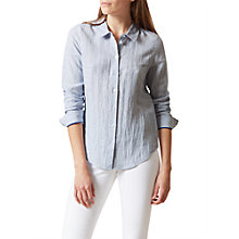 Buy Hobbs Marianne Stripe Linen Shirt, Blue/White Online at johnlewis.com