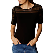 Buy Karen Millen Mesh Cut Out Top, Black Online at johnlewis.com