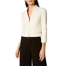 Buy Karen Millen Tweed Zip Jacket, Ivory Online at johnlewis.com