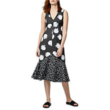Buy Warehouse Pattern Daisy Floral Midi Dress, Blue Pattern Online at johnlewis.com
