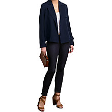 Buy Pure Collection Silk Linen Cropped Trench Jacket, Navy Online at johnlewis.com