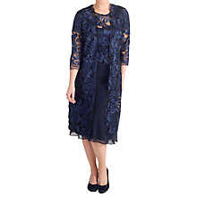 Buy Chesca Scallop Edged Embroidered Mesh Coat, Navy Online at johnlewis.com