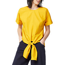 Buy Warehouse Stripe Tie Front Cotton Top, Yellow Online at johnlewis.com