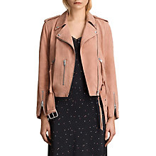 Buy AllSaints Plait Balfern Suede Biker Jacket, Clay Pink Online at johnlewis.com