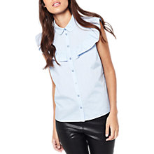 Buy Miss Selfridge Sleeveless Ruffle Shirt, Blue Online at johnlewis.com