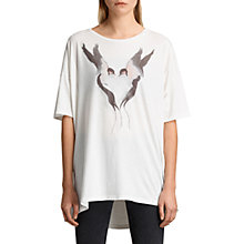 Buy AllSaints Lovebirds Cora T-Shirt, Chalk White Online at johnlewis.com