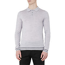 Buy Reiss Antonio Piped Wool Long Sleeve Polo Shirt, Soft Grey Online at johnlewis.com