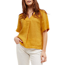 Buy Jaeger Linen Short Sleeve V-Neck Top, Gold Online at johnlewis.com