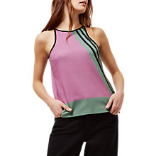 Buy Jaeger Block Print Racer Top, Purple/Multi Online at johnlewis.com