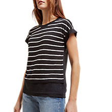 Buy Jaeger Linen Stripe Knit Top, Black/Ivory Online at johnlewis.com