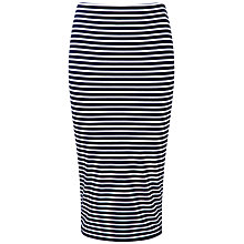 Buy Pure Collection Jersey Stripe Tube Skirt, Navy/White Online at johnlewis.com