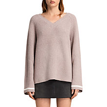 Buy AllSaints Daria Wool Blend V-Neck Jumper, Quartz Pink Online at johnlewis.com