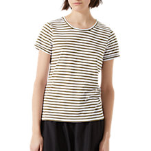 Buy Jigsaw Cotton Slub Stripe T-Shirt, Golden Olive Online at johnlewis.com