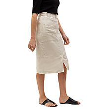Buy Jaeger Linen Belted Midi Skirt, White Online at johnlewis.com