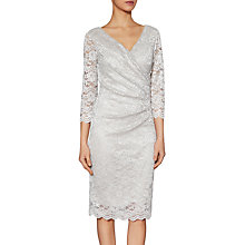 Buy Gina Bacconi Glitter Stretch Lace Dress, Silver Online at johnlewis.com