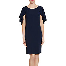 Buy Gina Bacconi Moss Crepe Dress With Bead Trimmed Cape Detail, Spring Navy Online at johnlewis.com
