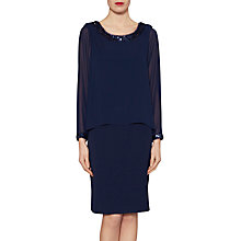 Buy Gina Bacconi Crepe Dress With Sequin Trim Chiffon Top, Spring Navy Online at johnlewis.com