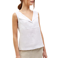 Buy Jaeger Linen Placket Shirt, White Online at johnlewis.com