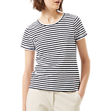 Buy Jigsaw Cotton Slub Stripe Short Sleeve T-Shirt, Dark Navy Online at johnlewis.com