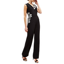 Buy Jaeger Lace Panelled Jumpsuit, Black Online at johnlewis.com