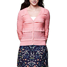 Buy Yumi Pointelle Frill Cardigan, Coral Online at johnlewis.com