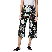 Buy Warehouse Magnolia Print Culottes, Black/Multi Online at johnlewis.com